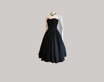 Vintage 50's Mexican Strapless Rhinestone Full Circle Skirt Dress