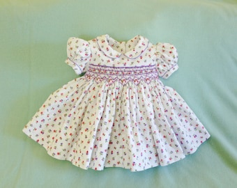 Baby girl Smocked dress, Size 6Mo, White dress, Pink carnations, Lavender flowers, Ready to Ship, Infant dress, Easter, Party, Baby shower