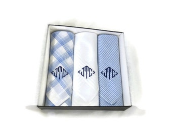 Monogrammed Handkerchiefs. Mens Plaid Blue Assorted Hankies. Mens Monogram Hankie. Mens Handkerchief Set. . Monogram Hankie.