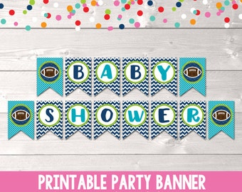 Printable Football Baby Shower Banner for Boys Instant Download Bunting PDF