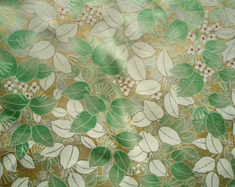 Kimono Silk Leaves on Cream/Yellow