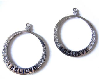 """Pair of Silver-tone Hoop Charms with Rhinestones and """"I Believe"""" Message"""