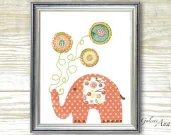 Art for Children nursery decor - baby nursery print - kids art - kids room decor - nursery wall art -  Elephant - Yoyo Fun print