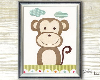 Kids wall art Monkey Nursery Art Jungle Nursery decor Children's art kids room decor brown yellow green nursery wall art - Paco le Singe