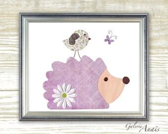 Art for children - Hedgehog - Bird baby nursery decor - Purple nursery - baby nursery wall art - nursery girl room - Delicate print