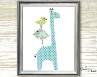 Blue green Nursery art baby nursery decor - nursery wall art - children room decor - kids art - personalized - Giraffe Birds - Elegance