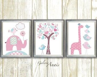 Pink blue Nursery art Baby girl nursery decor kids art giraffe nursery elephant nursery Birds room decor Set of three prints