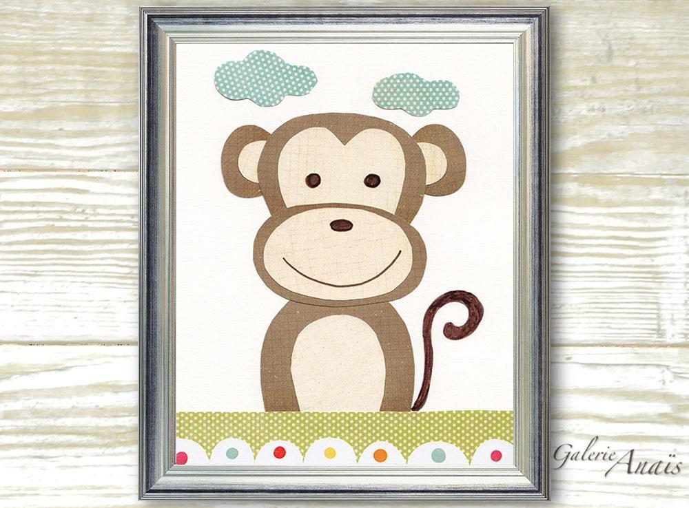 Jungle Wall Decor For Nursery : Kids wall art monkey nursery jungle decor