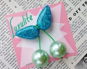 Jumbo handmade sparkly Aqua confetti lucite style 1940's 50's inspired pearly mint cherry brooch