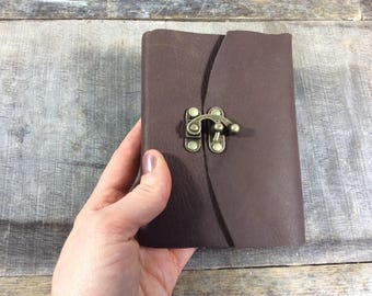 Tiny lined leather journal