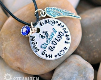 My Angel Baby Memorial Personalized Necklace - I love You Forever - Miscarriage Remembrance Necklace - In Memory Infant Loss Necklace