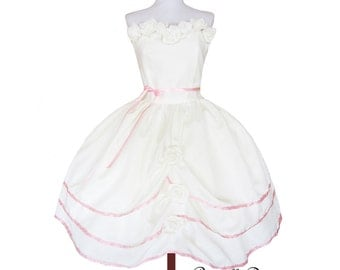 Custom in your size Cream and Pink roses Layered Dress Wedding teaparty Dress Prom or special occasion