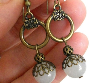 SALE White jade earrings, antiqued brass and white jade rustic earrings, Bohemian dangle earrings, Gypsy jewelry