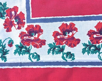 Floral Startex tablecloth, red poppies on white cotton, vintage linens, floral tablecloth, table linens, vintage Kitchen, TwoSwansSwimming