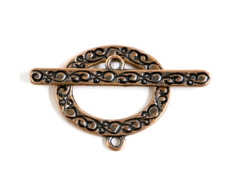 Swirls Oval Copper Plated  Toggle Clasp 43497 (1) Copper Jewelry Clasp, Oval Toggle Clasp, Necklace Toggle Clasp, Bracelet Toggle Clasp