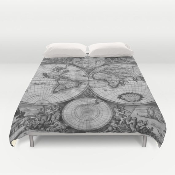 Old World Map Duvet Cover, Vintage World Map Bedding, Map Bedspread Cover, Greyscale, Black and White, World Map Decor, Guest Room