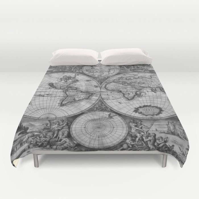 Old world map duvet cover vintage world map bedding map old world map duvet cover vintage world map bedding map bedspread cover greyscale black and white world map decor guest room dorm gumiabroncs Gallery