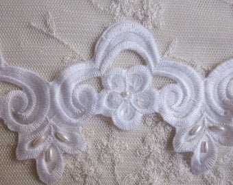 WHITE Sequin Pearl Beaded Flower Applique Lace Trim Bridal Veil Christening Baby Bow