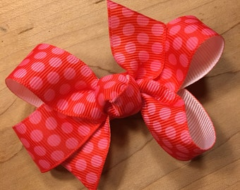 Red Bow, Polka Dot, Polka Dot Hair Bow, Red, Red Polka Dot Bow, Christmas Party Bow, Valentine's Hair Bow, Valentine's Bow, Valentine's