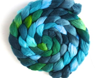 Merino Wool Roving Superfine - Hand Dyed Spinning or Felting Fiber, Forested Hills