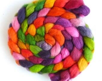 Superwash BFL Wool Roving - Hand Painted Spinning or Felting Fiber, Garden Center