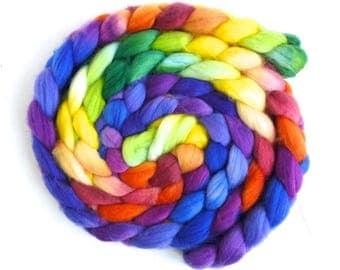 Superwash Merino/ Nylon Roving (Top) - Handpainted Spinning or Felting Fiber, Rainbow Palace