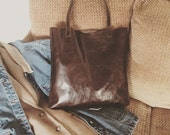 Dark Chocolate Leather Tote