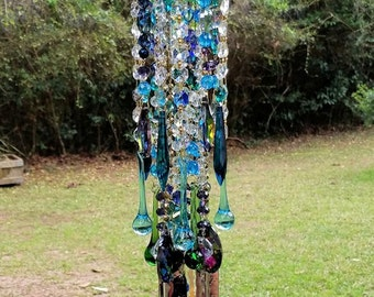 Antique Crystal Wind Chime, Peacock Crystal Wind Chime, Bohemian Wind Chime, Crystal Sun Catcher, Garden Decoration, Window Decor