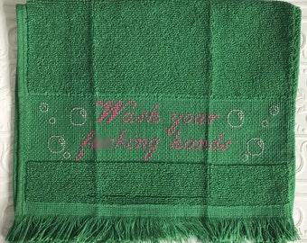 Wash your f---ing hands bathroom guest towel