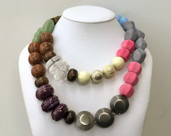 Necklace 2.30 - handmade beaded asymmetrical two strand colorful statement necklace featuring vinage lucite wood metal ceramic beads