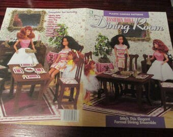 Plastic Canvas Patterns Fashion Doll Dining Room Furniture House of White Birches 181005 Pattern Leaflet