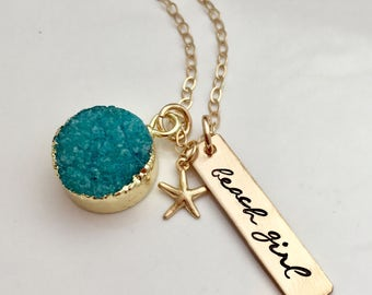 Beach Girl Necklace - Aqua Blue Druzy Necklace - Hand Stamped Jewelry - Starfish Necklace - Bridesmaid Necklace