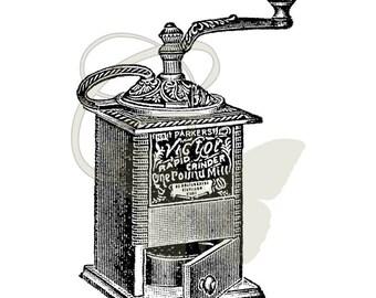 Printable Coffee Grinder Digital Download Illustration Artwork Transfer Vintage Clip Art