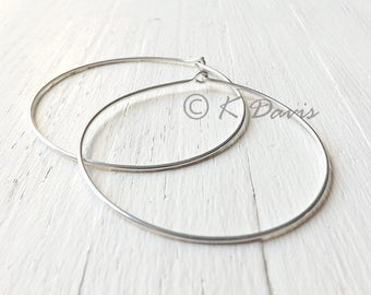 Large Silver Hoops, 2 Inch Sterling Silver Hoop Earrings, Hammered Sterling Silver Hoop Earring eco friendly womens jewelry