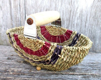 Pastry Blender Basket with Cranberry and Navy Accents