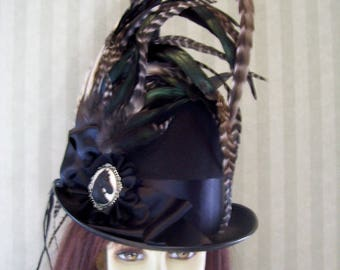 Black Kentucky Derby Top Hat, Horse Cameo, Belmont Stakes Top Hat, Preakness Hat, Steampunk Top Hat, Equestrian Hat, Dickens Festival Hat