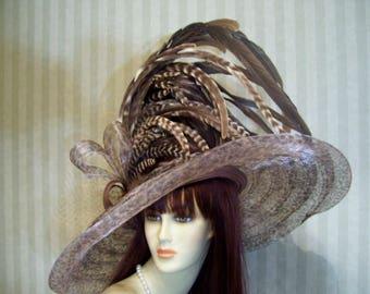 Kentucky Derby Hat, Extra Wide Brim Hat, BroWn Leopard Hat, Tea Hat, Wedding Hat, Victorian Hat, Downton Abbey Hat, Halloween Hat