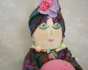 Handmade Pincushion-Sewing Needlecraft Supplies-Needle Minder-sewing accessory-gift-kitsch-sewing tool