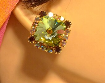 Vintage Green and Gold Rivoli Stone Clip On Earrings Square in Shape and Edged in Aurora Borealis and Brown Rhinestones. 3/4 Inches. (D13)