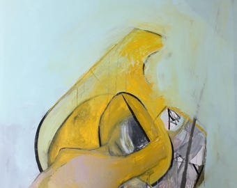 Woman in Yellow, original acrylic and charcoal painting on cancas