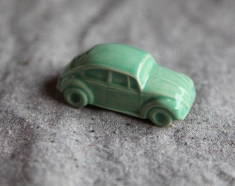 Volkswagen Beetle VW Bug Figurine in Stoneware with Mint Green Glaze