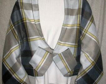 Gray, White, & Yellow Plaid Shawl, Bed Jacket, or Reading Shawl - Cold Office / Warm Shawl