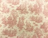 Pink Toile White fabric   Cotton Twill fabric   Last piece