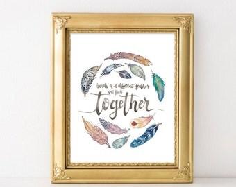 Boho Feather Watercolor Print // Kids Room// Classroom// Home Decor