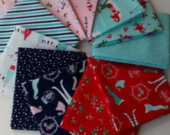 11 Fat Quarters Bundle of Riley Blake's Merry PIXIE NOEL  Fabrics ~ 2.75 yard total ~ by Tasha Noel