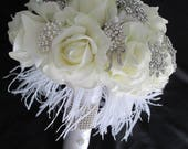 Custom order listing for.....Monica Cas.......Great Gatsby Styled Real Touch Rose Bridesmaids and Boutonniere Set