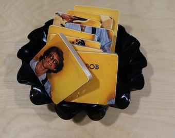 Bob Welch handmade wood coasters and vinyl bowl created from recycled self titled record album
