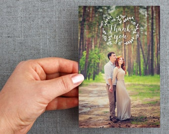 "50+ Wedding Thank you card, postcard, script, floral, ""Blithe Style"""