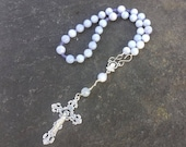 Lenten Sale Blue Lace Agate and Tanzanite Anglican Rosary  Protestant Prayer Beads. Protestant Rosary  Prayer Bead Necklace