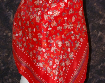 Vintage rain scarf Red floral scarf Square rain scarf Scotchguard water repellent scarf